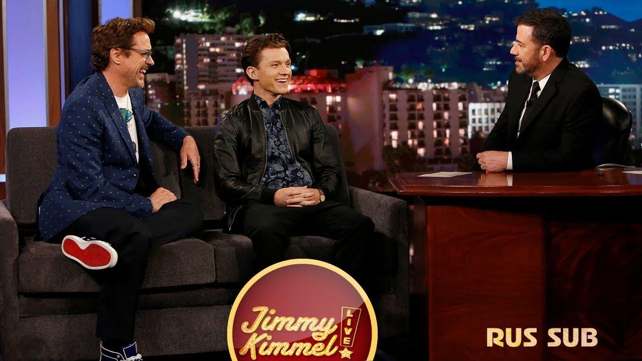 Том Холланд и Роберт Дауни мл. на вечернем шоу Джимми ...