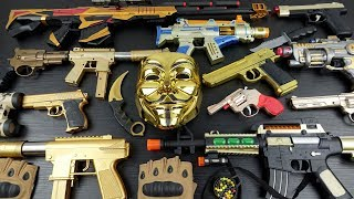 Toy Gold Weapons !! Bead Throwing Guns !! Hacker Mask / Anonymous / V for Vandetta