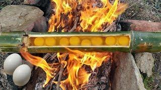 Trứng Gà Nướng Ống Tre - Món Ăn Dân Dã Ngon Bá Cháy - Cooking chicken eggs