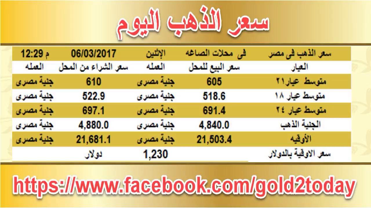 سعر الذهب اليوم في مصر الاثنين 6 3 2017 مقابل الجنيه المصري بمحلات الصاغة The Price Of Gold Today In Egypt Monday 06 03 2017 Gold Rate Jye Price Of Gold Today