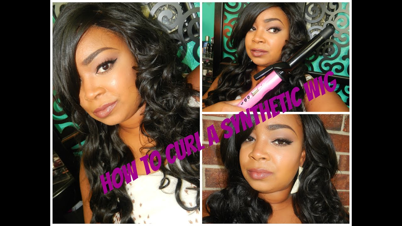 How To Curl A Synthetic Wig With A Curling Iron Youtube