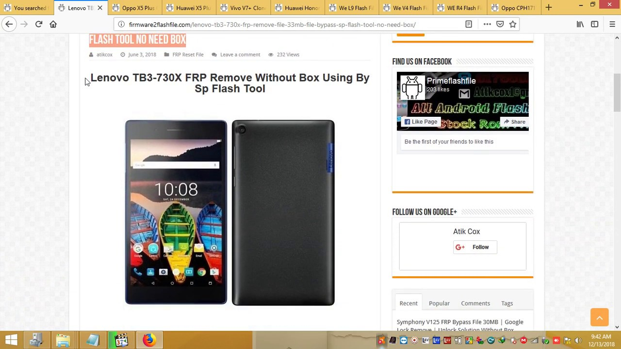 Lenovo TB3 730X Frp Bypass Frp Remove File With 33MB File Bypass With Sp  Flash Tool No Need Box 100%