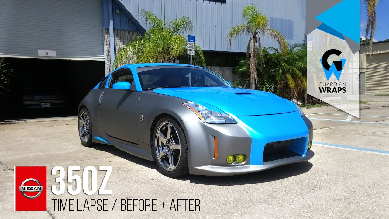 Blue And Silver Full Wrap Time Lapse Nissan 350z Youtube