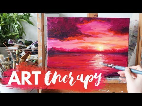 Therapy with Art | Sunset Acrylic Painting Tutorial [REAL TIME]