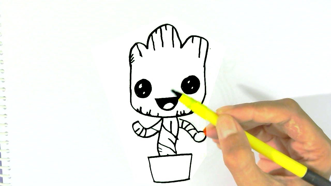How To Draw Baby Groot Easy Steps For Children Kids Beginners