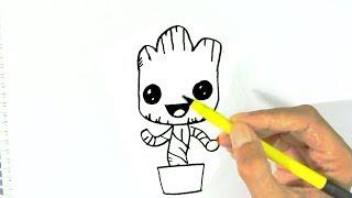 groot easy beginners draw sketch drawing children steps sketches getdrawings paintingvalley