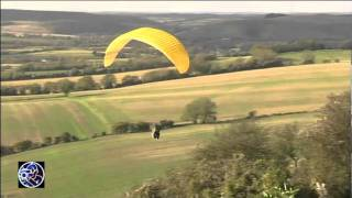 Hangliders and Paragliders on Butser Hill, Hampshire.