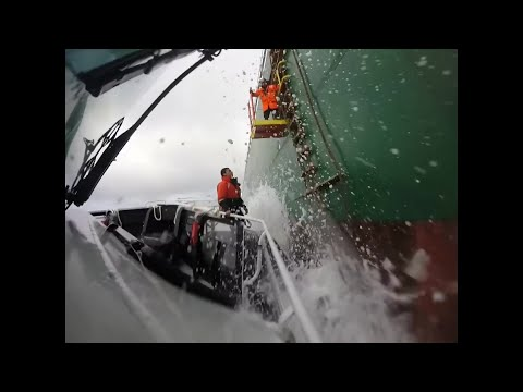 Life At Sea,Pilot Boarding Ship in Rough Weather in hd