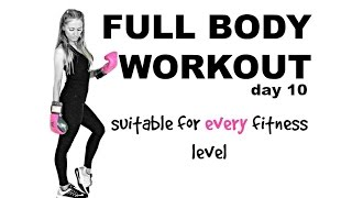 FULL BODY HOME  WORKOUT  FOR WOMEN - EASY TO FOLLOW WITH LOW IMPACT OPTIONS