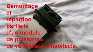 Comment démonter  un régulateur de vitesse de ventilateur d'habitacle d'un Renault Scénic II.