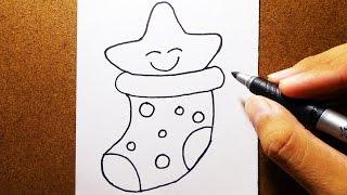 Como Desenhar Estrela com meia de Natal