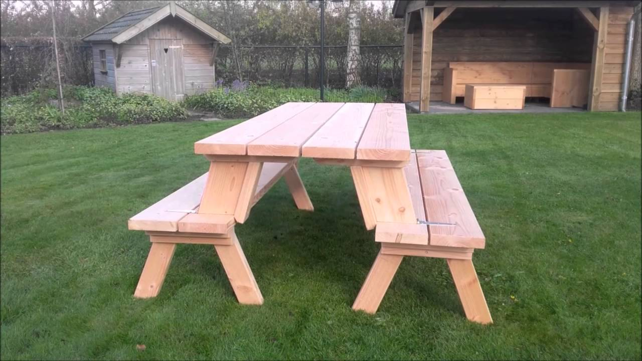 Picknicktafel Inklapbaar Tot Bank Douglas Inklapbare Picknicktafel Picknickbank 3 In 1 Model