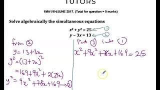 Solve Simultaneous Equations- Linear & Non-Linear Functions- Maths GCSE/IGCSE Grade 7-9