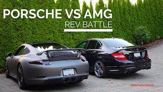 BRUTAL REV BATTLE! 911 GTS w/ TechArt Exhaust vs C63 AMG (Startup, Revs, Acceleration)