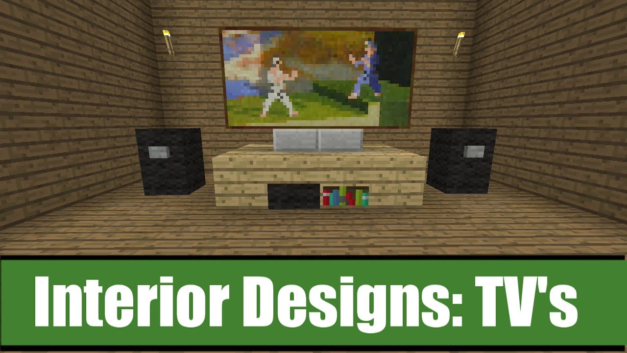 minecraft interior designs tv ideas youtube
