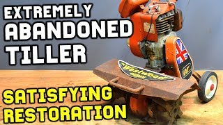 ABANDONED RUSTY TILLER SATISFYING RESTORATION