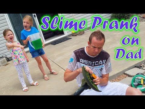 SLIME PRANK on Our Dad! Bucket of Gelli Ooze Baff Slime!!!