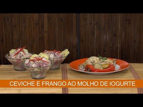 CEVICHE E FRANGO AO MOLHO DE IOGURTE