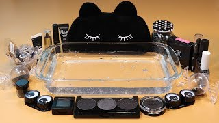 "Mixing ""Black"" Makeup,clay,slime,glitter... Into Clear Slime! ""Blackslime"""