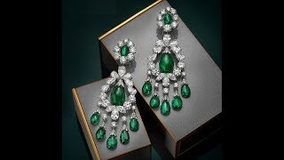GREEN EMERALD GEMSTONE  EARRINGS DESIGNS || Natural Green Emerald Gemstones earrings