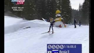 Николай Круглов финиширует с флагом (ЧМ, 12.03.2006)
