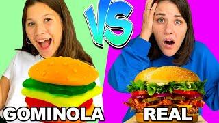 GOMITAS VS COMIDA REAL 🍣 GUMMY vs REAL Challenge de GOMINOLAS    Yippee Family