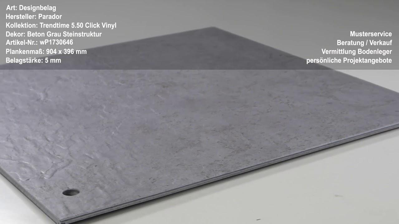 Parador Trendtime 5 50 Click Vinyl Beton Grau Steinstruktur Youtube