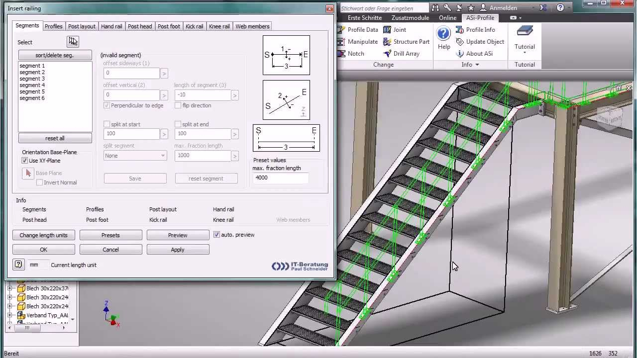 Holzgeländer Profile Railings With Autodesk Inventor And Asi Profile