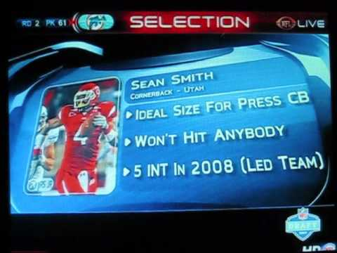 MIAMI DOLPHINS pick SEAN SMITH with the 61st pick in the 2009 NFL DRAFT