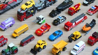 Police toy vehicles for kids. Learn names and sounds of police car, tow truck, helicopter, etc