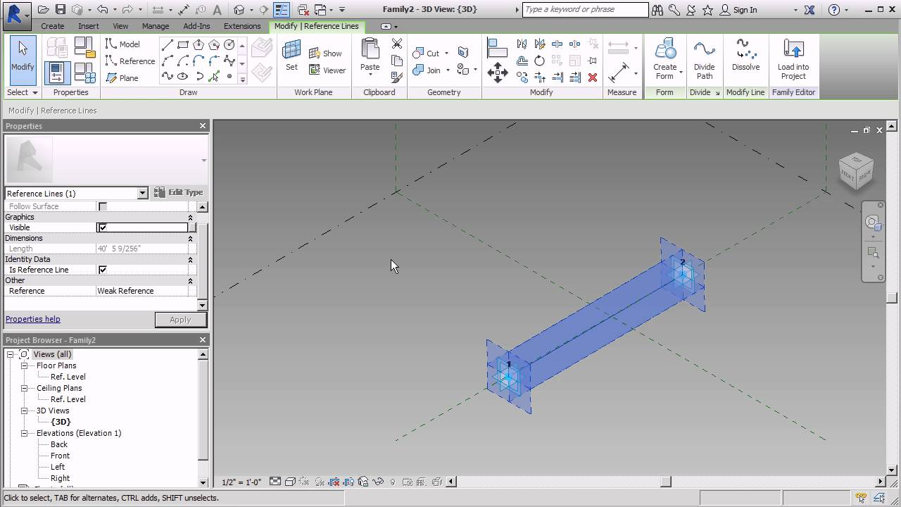 Create A Tension Cable In Revit S Adaptive Template Youtube