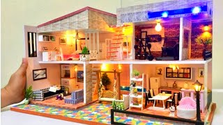 6 diy miniature dollhouse rooms barbie dreamhouse with gym and swimming pool