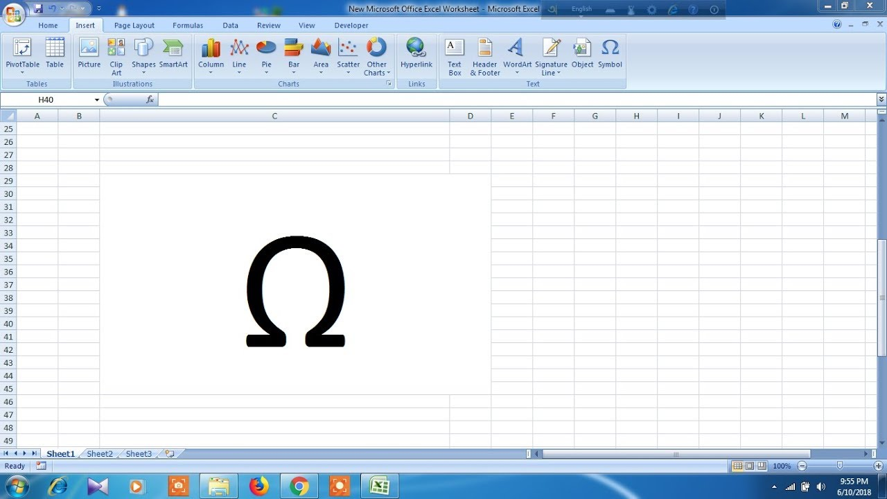 How To Insert Ohm Symbol In Excel Youtube
