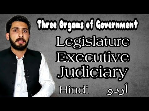 Three organs of Government Executive, Legislature and judiciary in Urdu Hindi