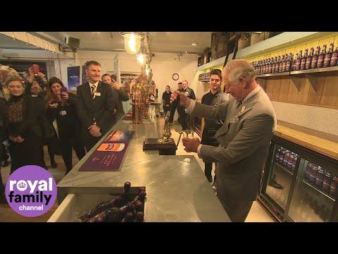 Prince Charles pulls his own pint at Cornish brewery