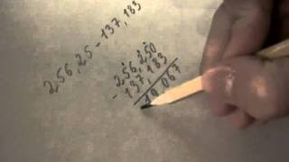 Вычитание столбиком смешанных чисел