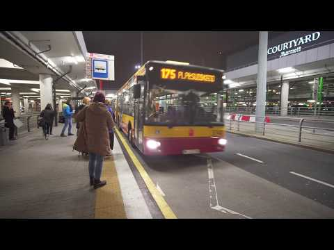 Poland, Warsaw, ride with bus No 175 from Airport to Central Station