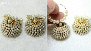 How to make Pearl Jhumka    DIY   by MISS. ARTOFY