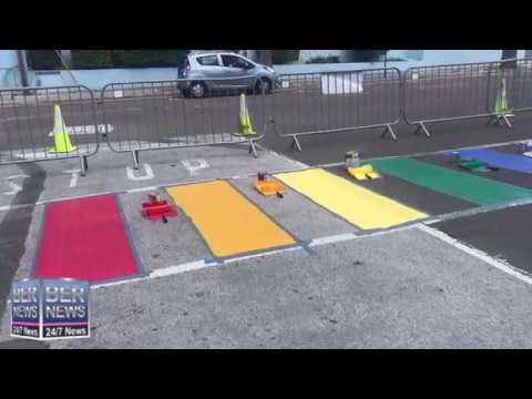 Rainbow Crosswalks Painted In Hamilton, August 25 2019