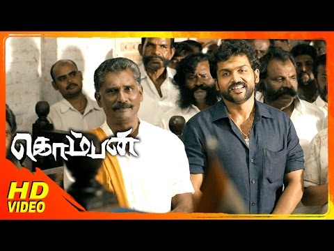 Komban Tamil Movie | Scenes | Lakshmi Menon Serves Drinks To Rajkiran | Karthi