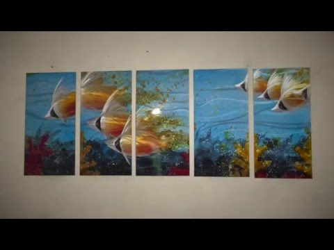 Tropical Sea School of Fish Metal Wall Art Decor - Large Modern Ocean Artwork