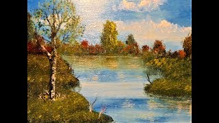 EASY Pond Landscape  /using ONLY 3 Colors! Real-Time Acrylic Tutorial .