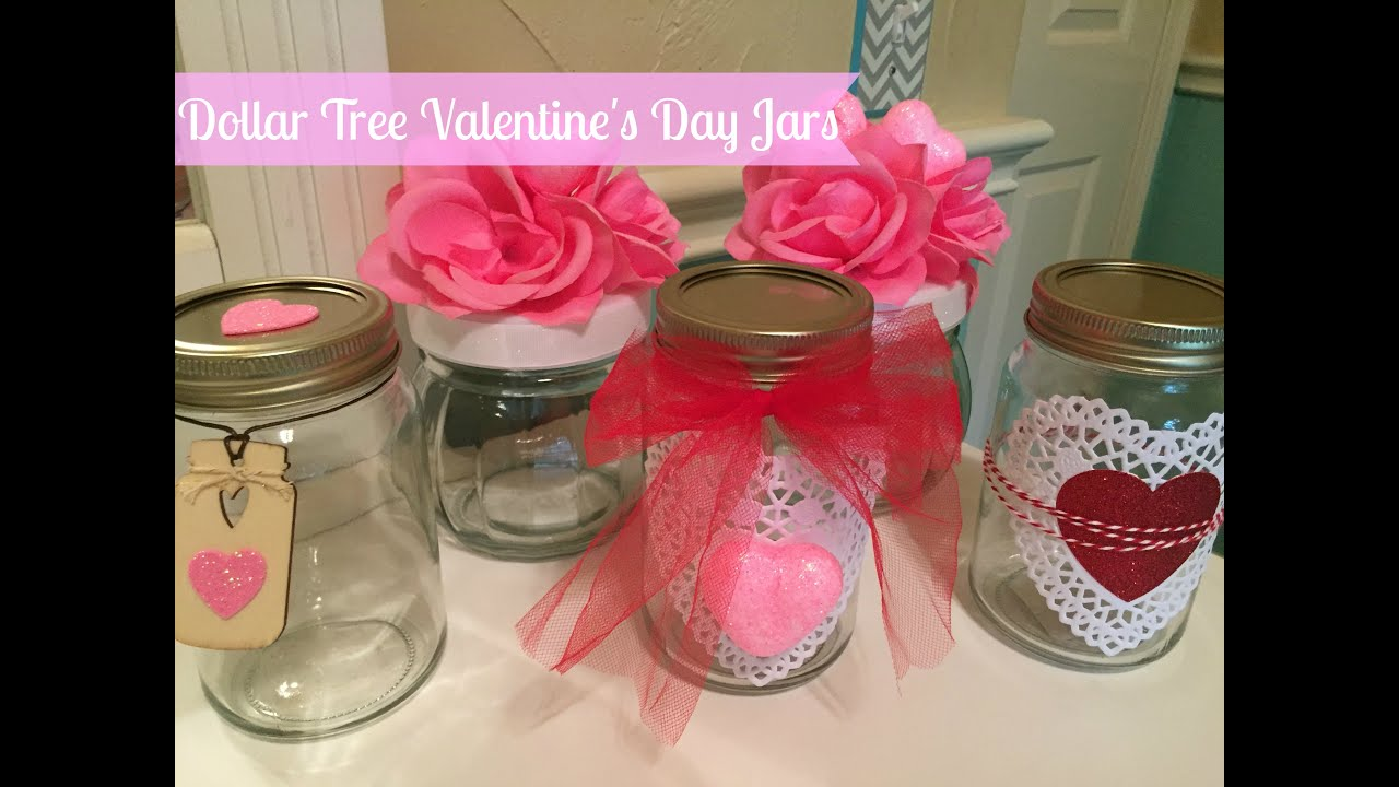 DOLLAR TREE DIY: Valentine\'s Day Decor Jars - YouTube