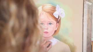 Pastel portrait of a little girl