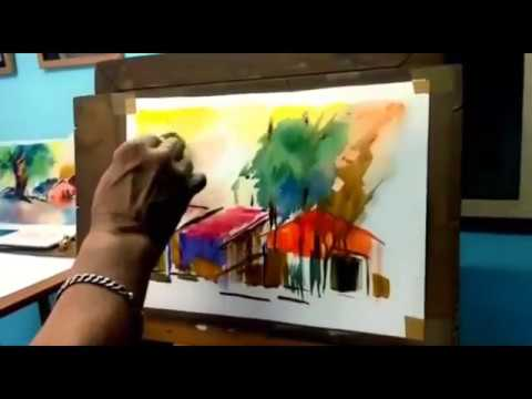 WATER COLOR Landscape Freestyle (I like I paint)