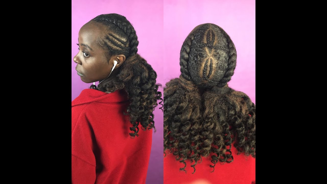 Two Feed In Braids With Curly Ponytail On 4c Hair Marley