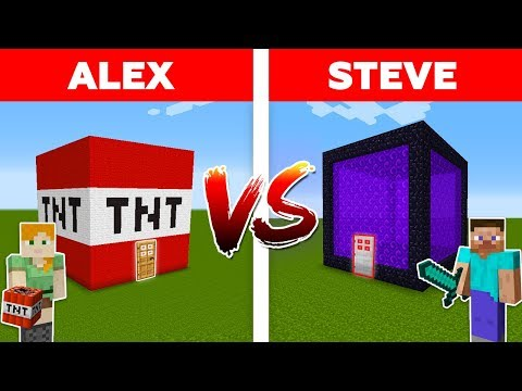 MINECRAFT - ALEX Vs STEVE! PORTAL HOUSE Vs TNT HOUSE - The Best Episodes
