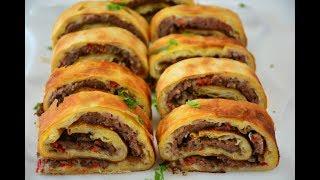 Lahmacun Börek (Kıymalı Rulo  Börek Tarifi ) Çook Nefis