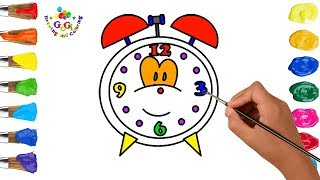 How to Draw Alarm Clock - Coloring Pages for Kids - Art Colours for Baby