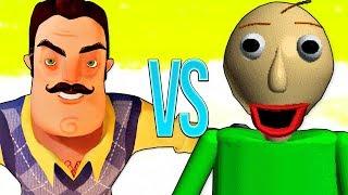 БАЛДИ VS ПРИВЕТ СОСЕД | СУПЕР РЭП БИТВА | Baldi's Basics Baldi ПРОТИВ Hello Neighbor horror игра